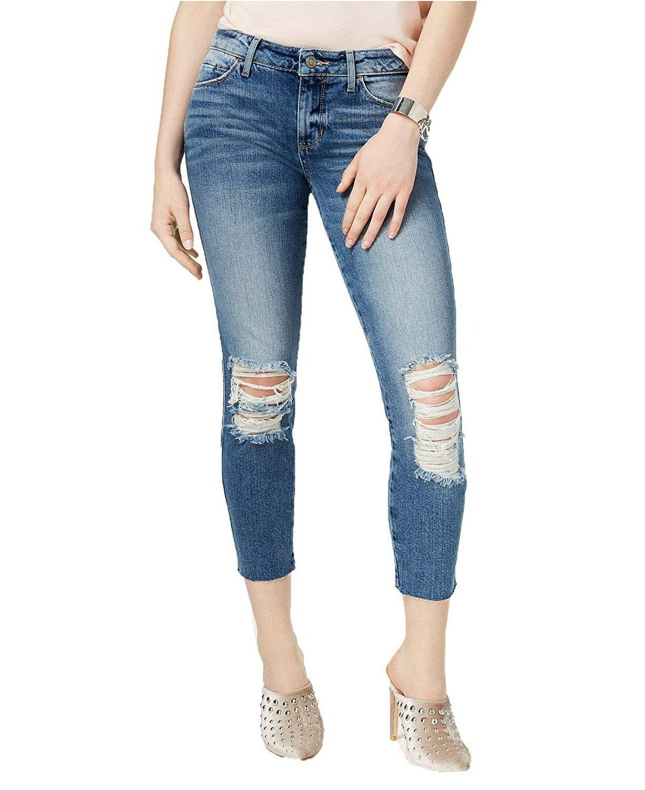 GUESS Women's Ripped Skinny Jeans (Supernova Wash, 24)