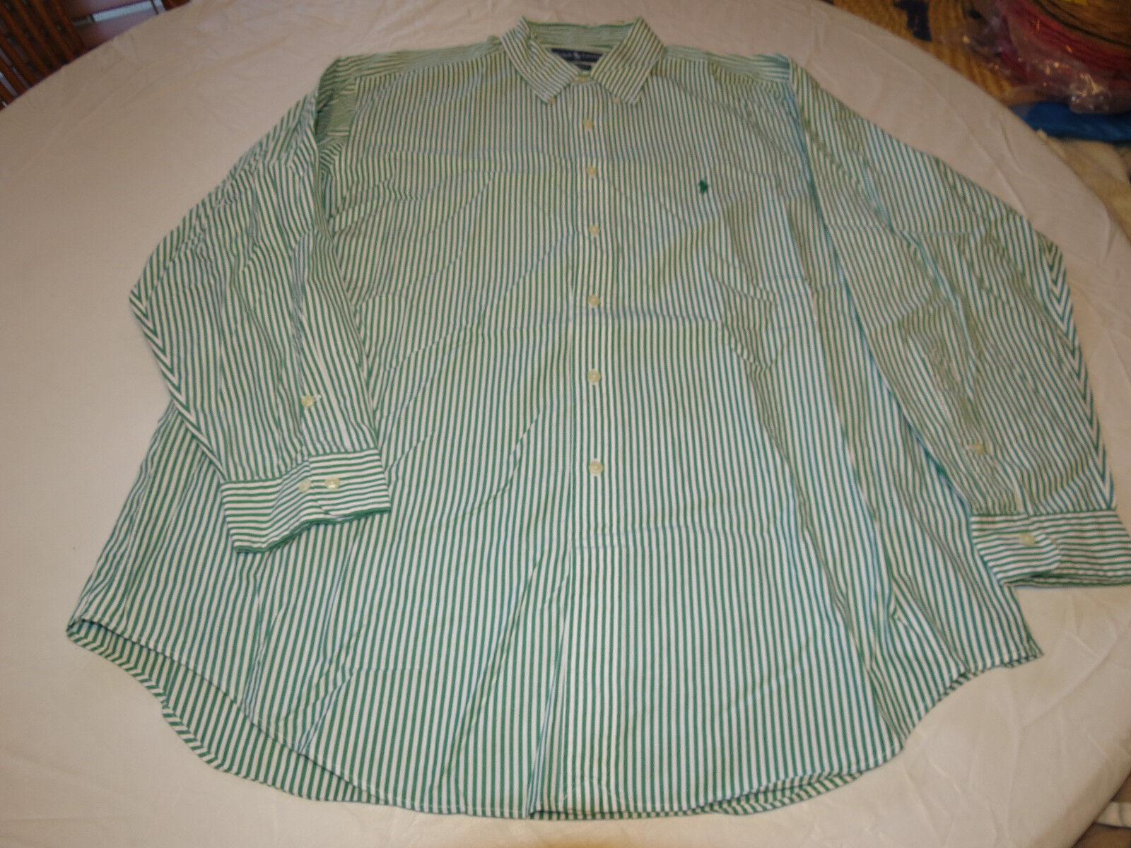 7b08817215 Ralph Lauren Yarmouth 17 34 35 grren white stp long sleeve button up Shirt  EUC @