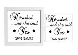 Vinyl Sticker 20 X 20cm For Box Frame He Asked And She Said Yes