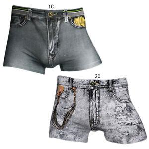 1ffc8964e95 Details about Sexy Mens Smooth Spandex Shorts Fake Denim Jean Printed Boxer  Briefs Underwear