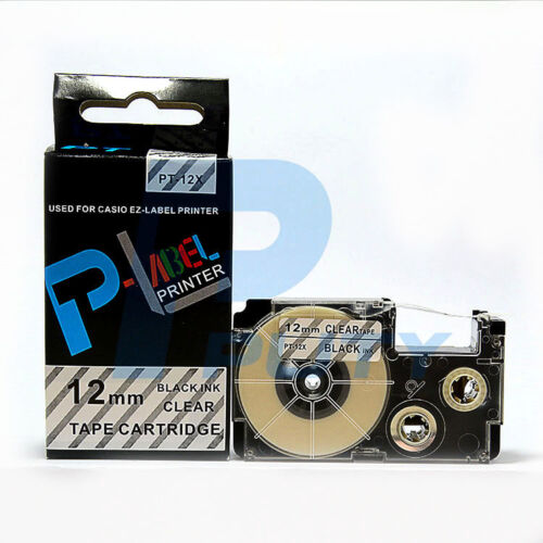 2PK Compatible Casio XR-12X Black on Clear 12mm x 8mm Label Tape KL-60SR XR-12X1