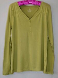 NWT-Talbots-Women-039-s-Henley-Long-Sleeve-Top-Pima-Cotton-Size-L