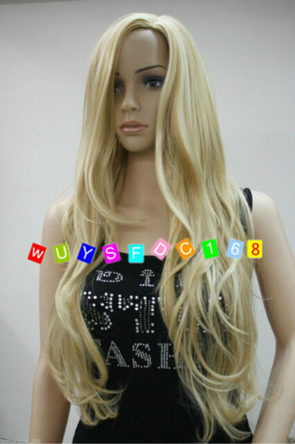 New Sexy Long wavy curly Blonde ladies Women Party Hair Wig - Full Wig