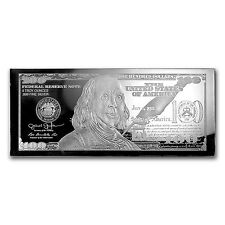 4 oz Silver Bar - 2017 $100 Bill (W/Box & COA) - SKU #114813
