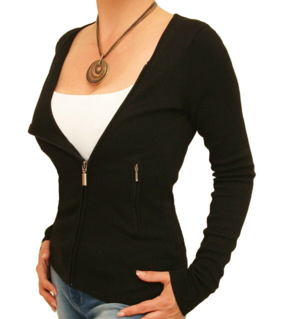 New Biker Style Zip Up Cardigan with Pockets
