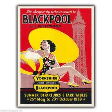 Blackpool Vintage Retro Viaje ANUNCIO Cartel Metálico Para Pared Placa Afiche