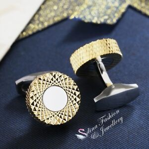 18K-Yellow-Gold-Plated-Stainless-Steel-Round-Crossover-Pattern-Men-s-Cufflinks
