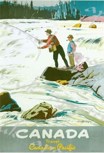 Vintage Fishing in Canada Tourism Poster A4//A3//A2//A1 Print