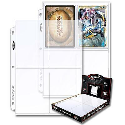1 Box of 100 BCW 4 Pocket Pages Postcard Photo Storage Sheets holder