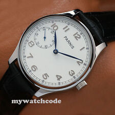 44mm parnis white dial blue hands hand winding 6497 movement mens watch P28