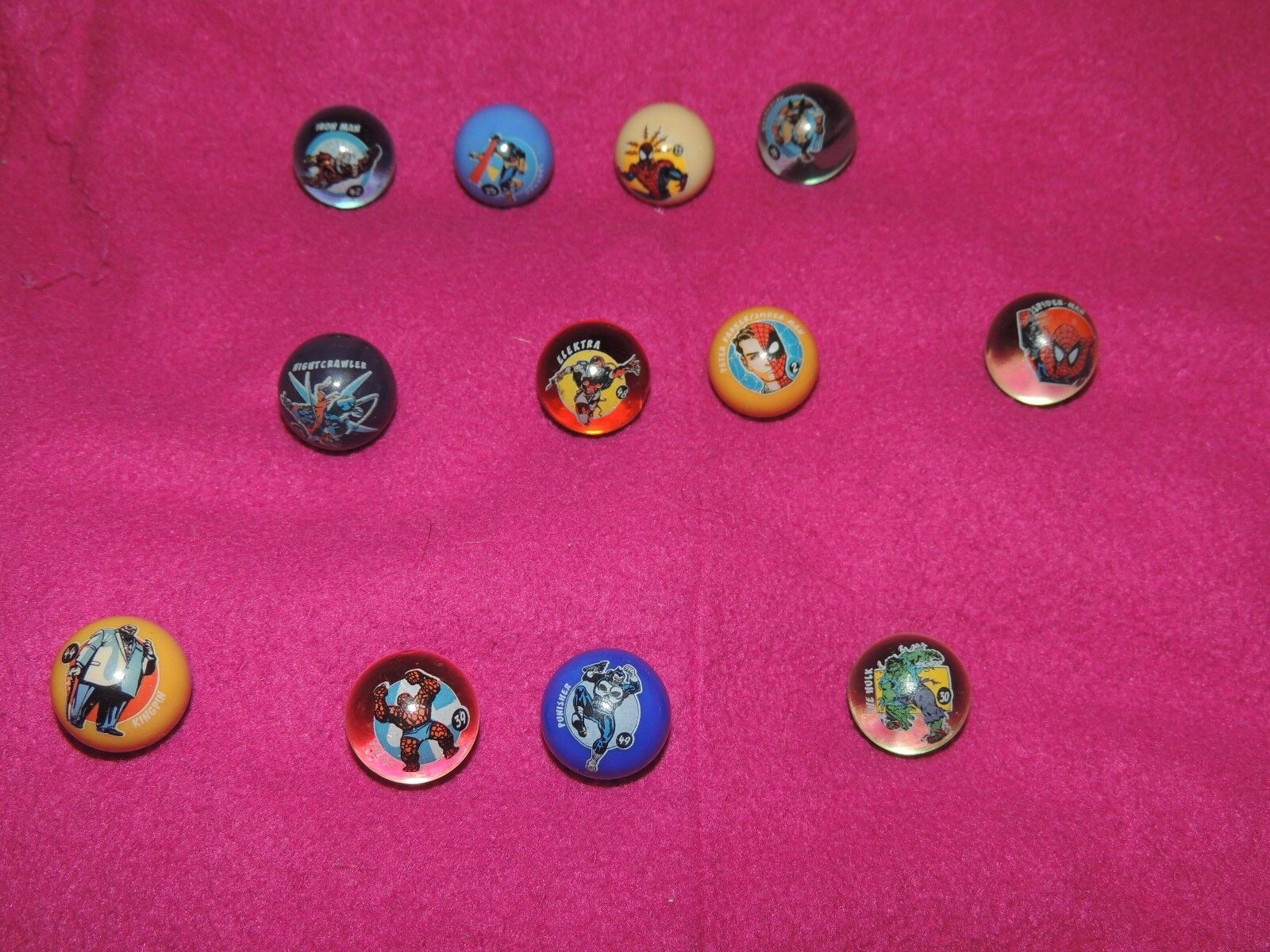 Collectable Marvel Marbles - Bundle of 12 All Different Lot