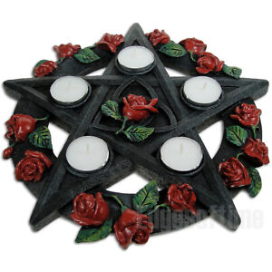 WICCAN-PENTAGRAM-ROSE-TEALIGHT-CANDLE-INCENSE-HOLDER-PAGAN-GOTHIC-OCCULT-29-5CM
