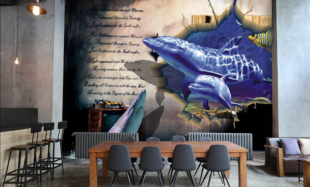 3D Swimming Dolphin 788 Wall Paper Wall Print Decal Wall Deco Art Indoor Wall