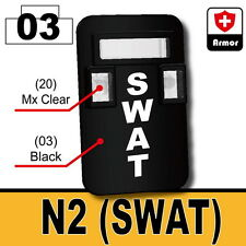 SWAT Shield N2 (W204)Riot compatible w/ toy brick minifigures Police Riot Shield