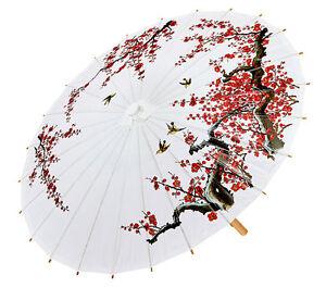 Asiatischer Sonnenschirm asiatischer schirm in weiß neu zubehör accessoire karneval