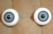 """pair of old glass eyes blue 0.64""""/16 mm/vintage/1930s/ Germany"""