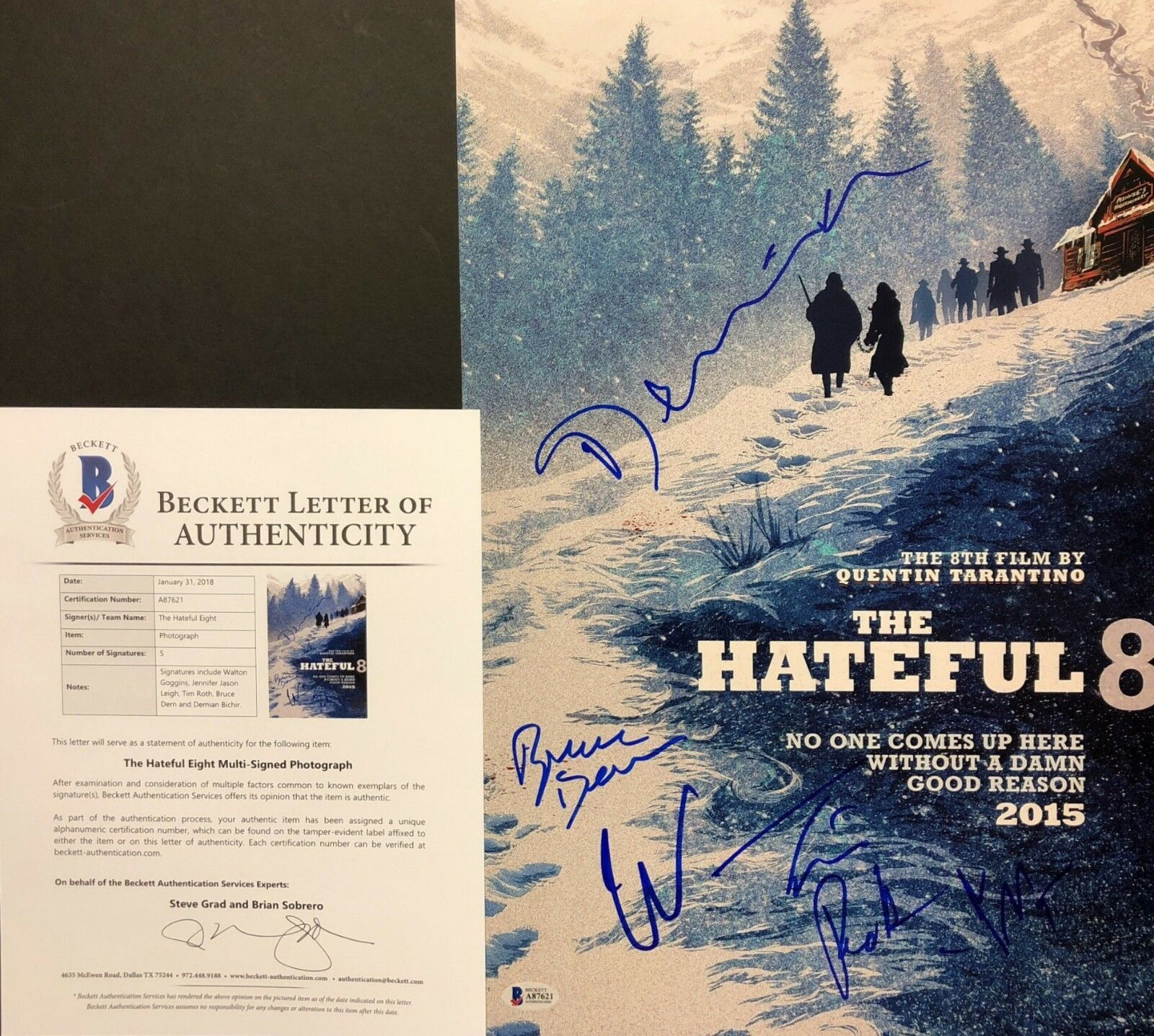 Goggins Jason Tim Roth Bruce Dern Bichir Signed Hateful Eight 12x18 Photo BAS