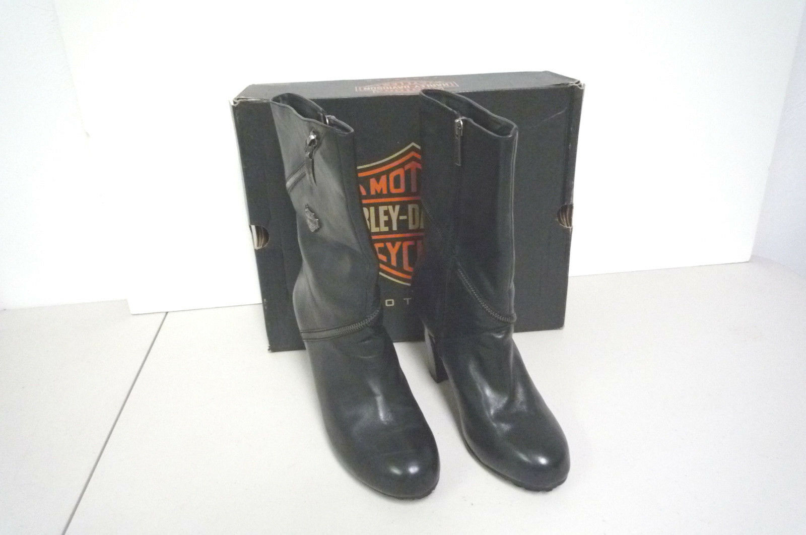 Womens Harley Davidson Leather Heel Boots Sabrina Wrap Zip D85399 Size 9 M