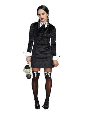Wig Kids Creepy Wednesday Gothic School Girl Halloween Fancy Dress Costume