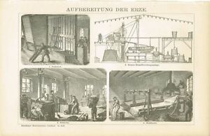 Erzaufbereitung Original-holzstich 1894 2019 Offiziell Tafel Erze Alte Berufe