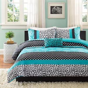 modern girls teal blue aqua black grey polka dot comforter set twin full queen ebay. Black Bedroom Furniture Sets. Home Design Ideas