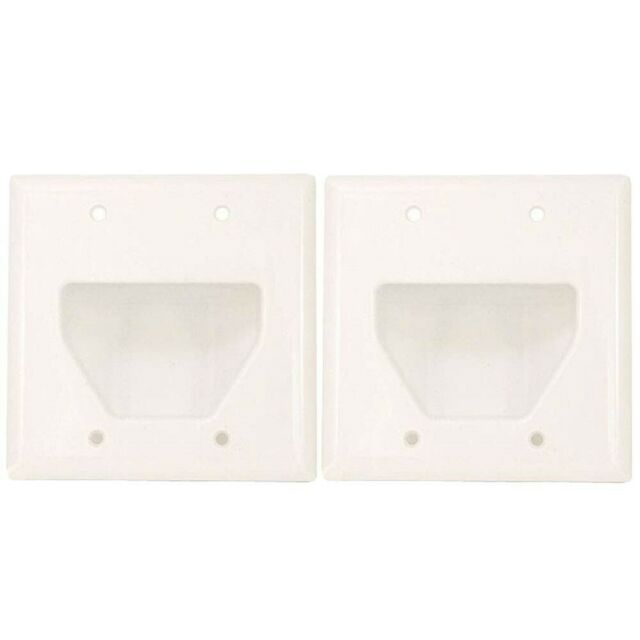 2x Wall Plate 3 Gang Recessed Low Voltage Cable Black