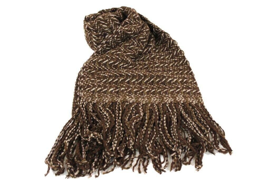 Mujer Bufanda 100% acrílico con flecos Laura Biagiotti corbezz línea marrón hecho