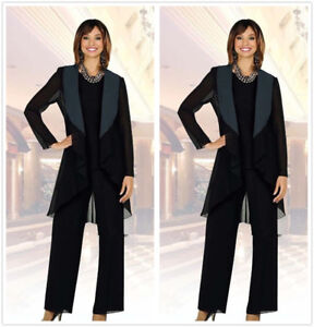 f720188457c Plus Size Black Mother Of The Bride Pants Suits Long Sleeve Chiffon ...