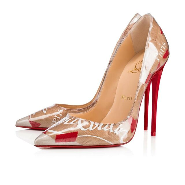 0f07b0b8b89 Christian Louboutin So Kate 120 Red Nude Loubi Kraft Patent PVC Heel Pump  37.5