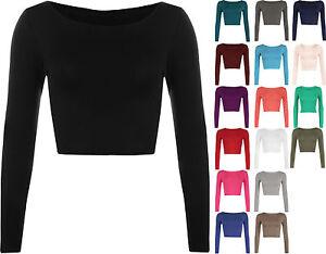 Womens-Long-Sleeve-Crop-Top-Ladies-Plain-T-Shirts-Round-Neck-Tops-UK-SIZES-8-14