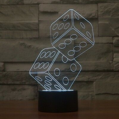 3D Lamp Crisscross Rings Optical Illusion Led Night Light 7 Colors Touch Switch