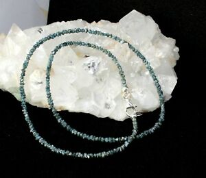 Echte-Roh-Diamant-Kette-Edelsteinkette-Funkelnd-BLAU-Collier-nuggets-Edel-35-kt