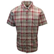 prAna Men's Raspberry Red Cream Grey Box Plaid Benton S/S Woven Shirt S07