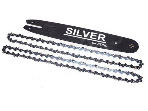 Schwert und 2 Ketten 35 cm 3//8P 1 3 50 TG SILVER passend für Stihl