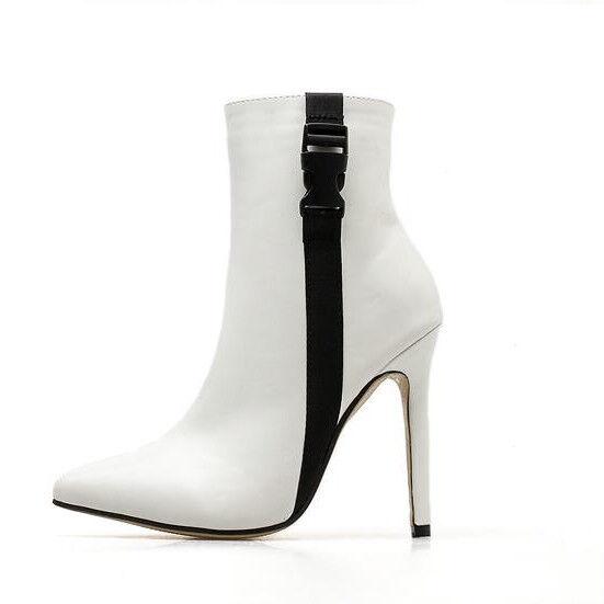 Stivali stivaletti stiletto bianco nero simil comodi eleganti 11 cm simil nero pelle 1405 0d55f2