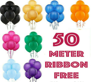 50-ROUND-LATEX-BALLOONS-10-034-Helium-Party-Birthday-Wedding-Christening