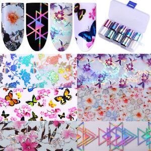 Holographic-Flower-Nail-Foil-Decal-Dreamcatche-Nail-Art-Transfer-Sticker-Decor