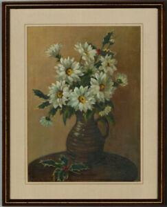 Mary Chadwick - Fine Framed 20th Century Oil, Still Life with Vase of Flowers