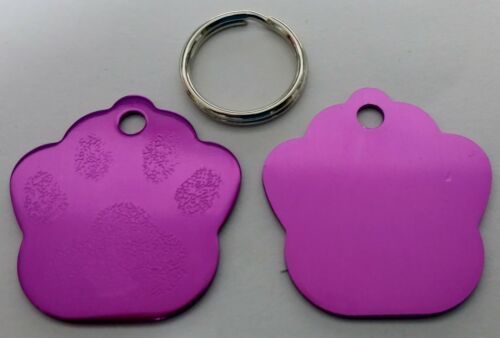 ALL COLOURS AVAILABLE Phone Name cat Luxury Paw Print Engraved Dog Pet id Tag