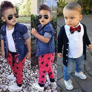 3PCS Kids Baby Boy Shirt Tops+Jeans//Casual Pants+Coat Outwear Clothes Outfits UK