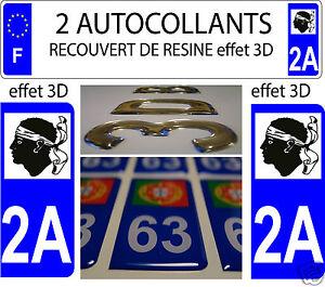 2 Sticker Recouvert De Resine Plaque Immatriculation Departement Corse Du Sud 2a