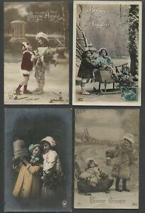 Four-c-1909-15-French-RPPC-Photo-Postcards-BONNE-ANNEE-NEW-YEAR-Children-Girls