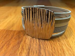 Multi-Strand-Silver-Women-039-s-Textured-Center-Bracelet-Magnetic-Clasp-7-034-Cuff-NEW