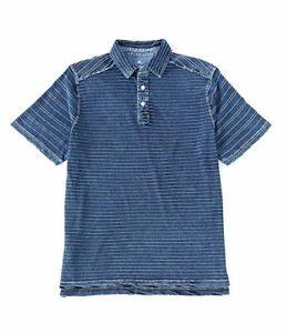 Men-s-SZ-2XL-Tommy-Bahama-Polo-Short-Sleeve-Shirt-Riviera-Indigo-Blue-striped