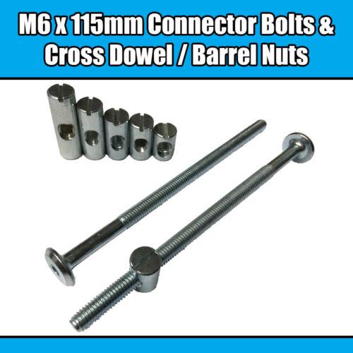 M6 x 115mm Furniture Connector Bolts & Cross Dowel Barrel Nuts Joint Fixing Unit