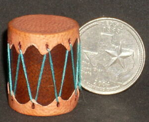 Miniature-Southwest-Native-American-Indian-Drum-Plain-1-12-Prestige-Leather-7388