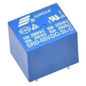 Miniatur-Print-Relais-5V-1-Wechsler-1xUM-10A-250V-Songle-SRD-05VDC-SL-C-Relay