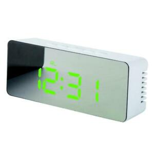 Details about Modern Alarm Clock with Mirror Night Light Temperature Green  LED Light #3