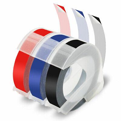 5x Prägeband Schriftband Kassette 3D 9mm weiß auf blau für Dymo Junior