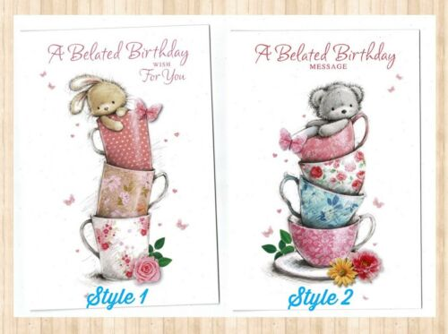 Belated Birthday Card  A Choice Of Two Cute Designs